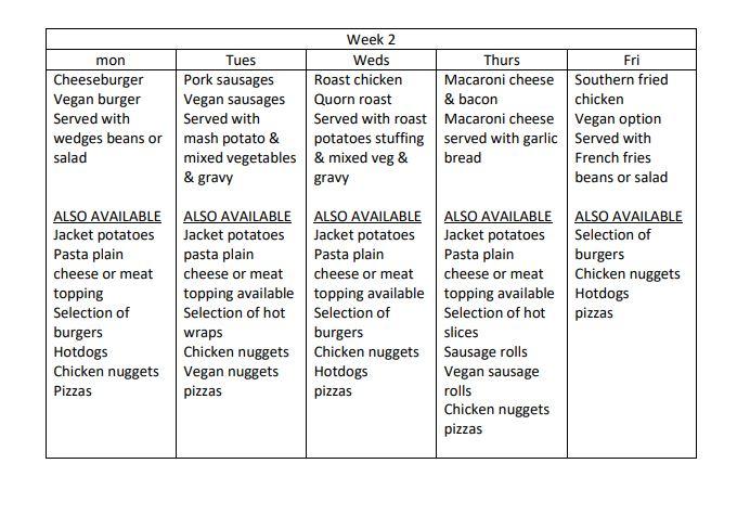 menu week 2